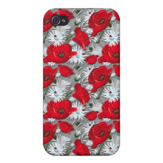 Gorgeous red poppies summer flowers pattern iPhone 4 cases