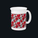 "Gorgeous red poppies summer flowers pattern pitcher<br><div class=""desc"">Original - by YANKAdesigns!</div>"