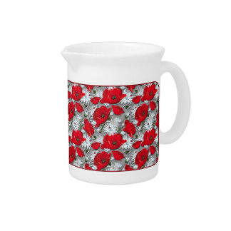 Gorgeous red poppies summer flowers pattern pitcher