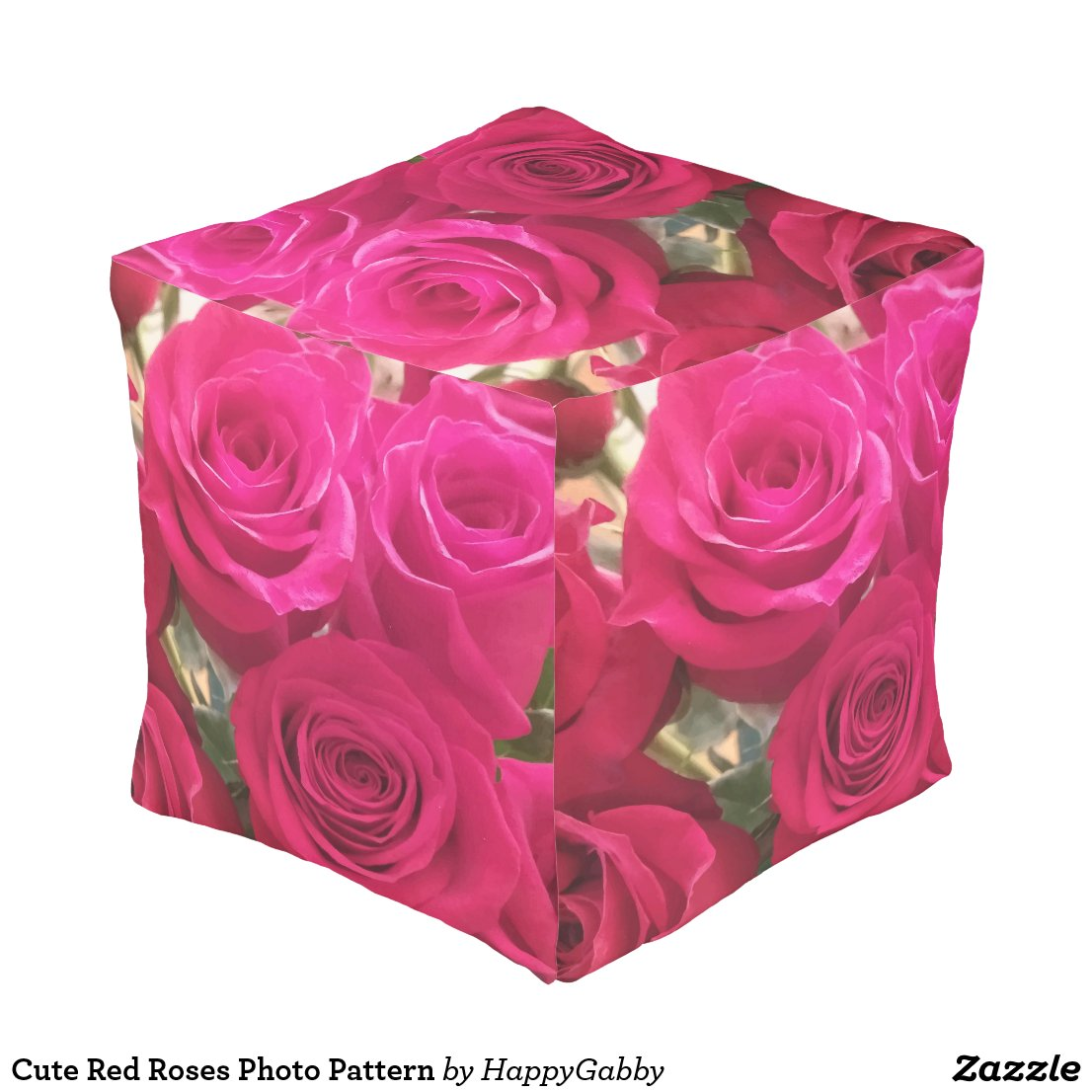 Red Roses Print Large Cube Pouf