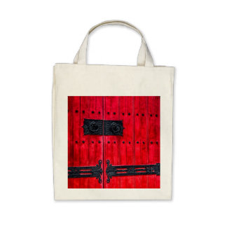 Gorgeous Red Rustic Wood Door Canvas Bags
