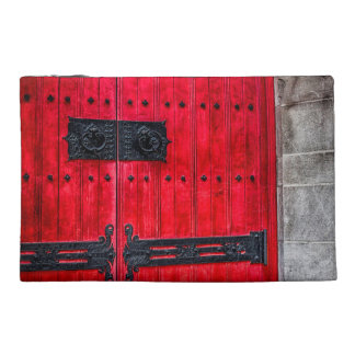 Gorgeous Red Rustic Wood Door Travel Accessory Bags