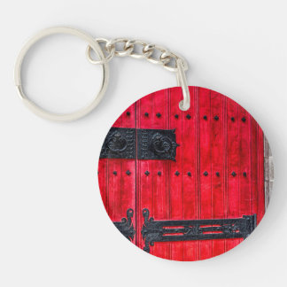 Gorgeous Red Rustic Wood Door Double-Sided Round Acrylic Keychain
