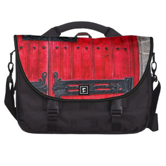 Gorgeous Red Rustic Wood Door Bags For Laptop