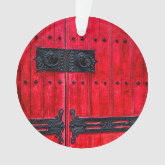 Gorgeous Red Rustic Wood Door Ornament