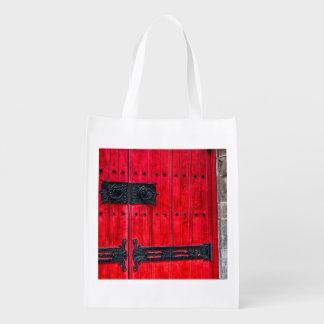 Gorgeous Red Rustic Wood Door Grocery Bags