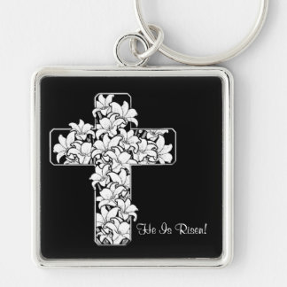 Gorgeous! Rejoice - He is Risen Keyring Silver-Colored Square Keychain