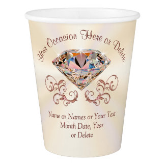 Gorgeous Rose Gold Diamond Paper Cups, Personalize Paper Cup