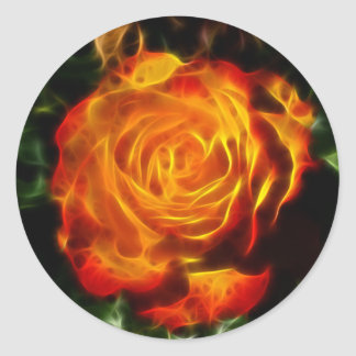 Gorgeous Rose on Fire Classic Round Sticker