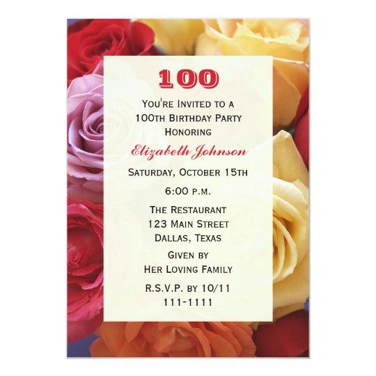 Gorgeous Roses 100th Birthday Party Invitation Zazzlecom