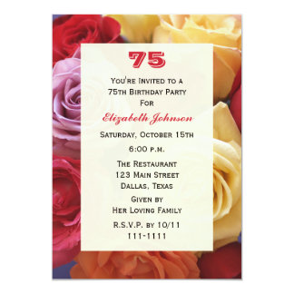Gorgeous Roses 75th Birthday Party Invitation