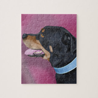 Gorgeous Rottweiler Portrait on a Pink Wall Jigsaw Puzzle
