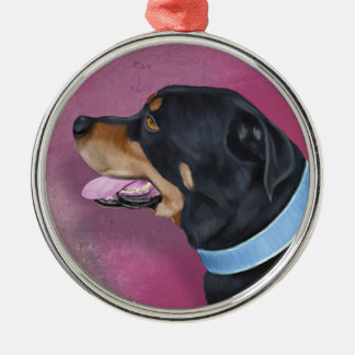 Gorgeous Rottweiler Portrait on a Pink Wall Christmas Ornaments