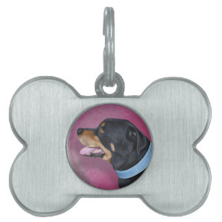 Gorgeous Rottweiler Portrait on a Pink Wall Pet Name Tag