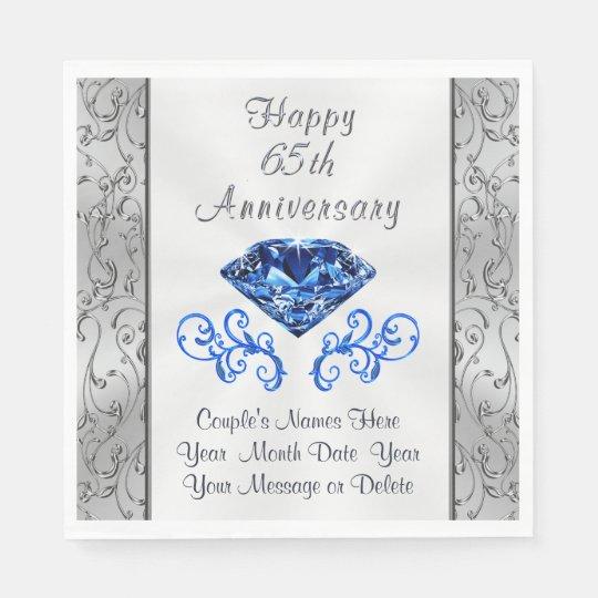 Gorgeous Sapphire 65th Wedding Anniversary Napkins