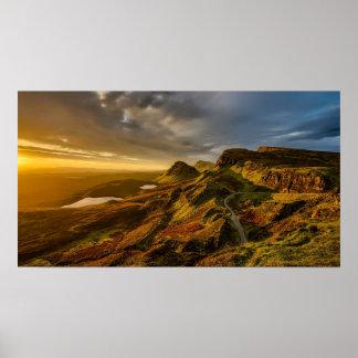 Gorgeous scotland mountain sunset landscape poster