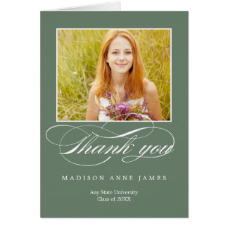 Gorgeous Script Graduation Thank You Card Card