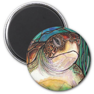 Gorgeous Sea Turtle Stained Glass Style Art 2 Inch Round Magnet