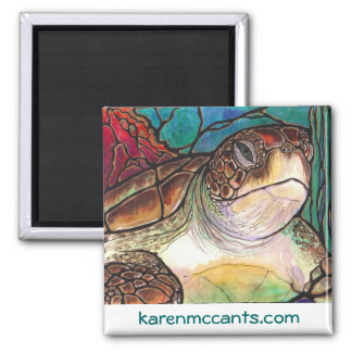 Gorgeous Sea Turtle Stained Glass Style Art 2 Inch Square Magnet