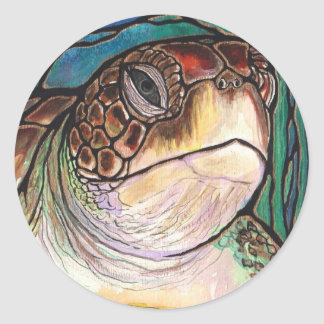 Gorgeous Sea Turtle Stained Glass Style Art Classic Round Sticker