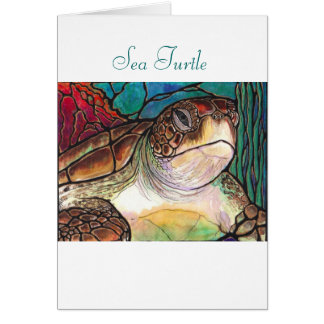 Gorgeous Sea Turtle Stained Glass Style Art Greeting Card
