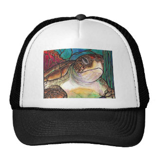 Gorgeous Sea Turtle Stained Glass Style Art Trucker Hat