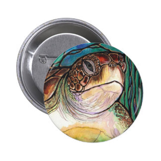 Gorgeous Sea Turtle Stained Glass Style Art Pinback Button