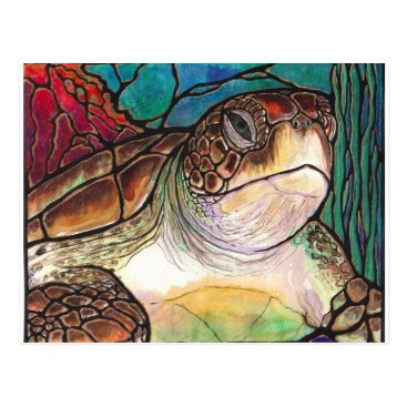 karenmccantsart Gorgeous Sea Turtle Stained Glass Style Art Postcard