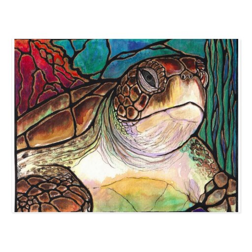 Gorgeous Sea Turtle Stained Glass Style Art Post Card