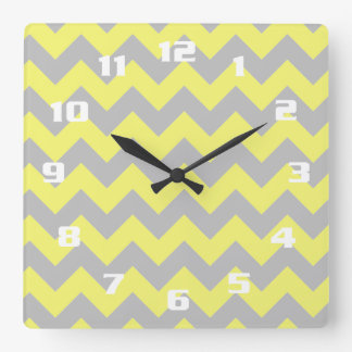 Gorgeous Shades of Yellow and Gray Chevron Pattern Square Wall Clock