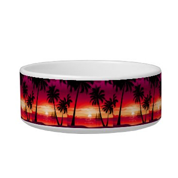 Beach Themed Gorgeous Shimmery Island Sunset & Sailboat Bowl