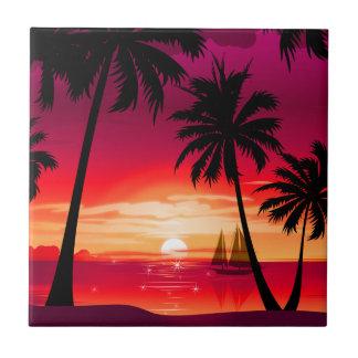Gorgeous Shimmery Island Sunset & Sailboat Ceramic Tile