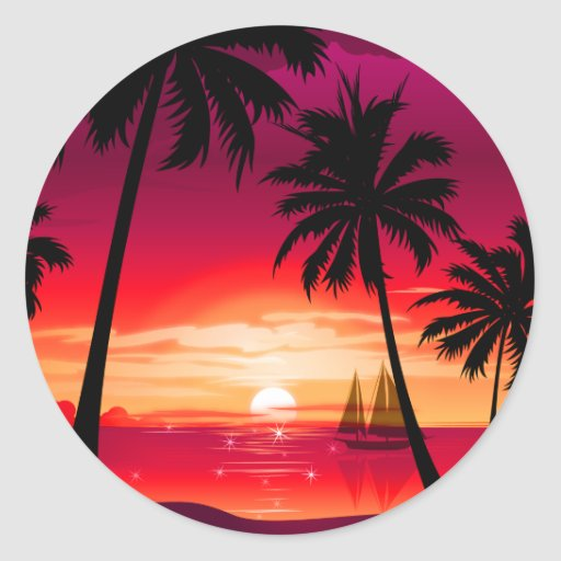 Gorgeous Shimmery Island Sunset & Sailboat Classic Round Sticker