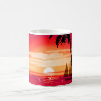 Gorgeous Shimmery Island Sunset & Sailboat Coffee Mug