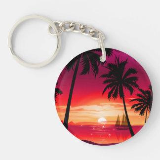 Gorgeous Shimmery Island Sunset & Sailboat Keychain