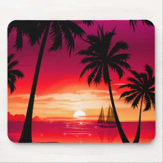 Gorgeous Shimmery Island Sunset & Sailboat Mouse Pad