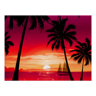 Gorgeous Shimmery Island Sunset & Sailboat Posters