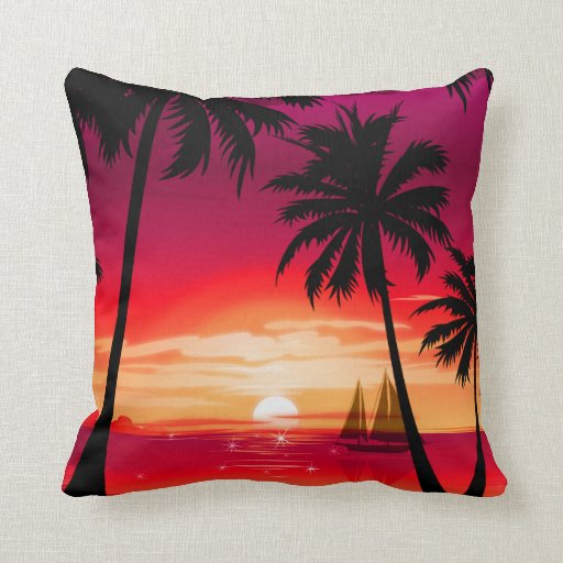 Gorgeous Shimmery Island Sunset & Sailboat Throw Pillow