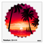 Gorgeous Shimmery Island Sunset & Sailboat Room Decal