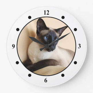Gorgeous Siamese Cat Face Large Clock