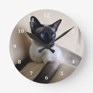 Gorgeous Siamese Cat Face Round Clock