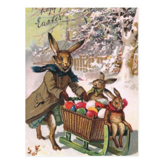 Gorgeous Snow Bunny Delivering Easter Eggs Postcards