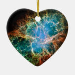 Gorgeous Space Photo of the Crab Nebula Double-Sided Heart Ceramic Christmas Ornament