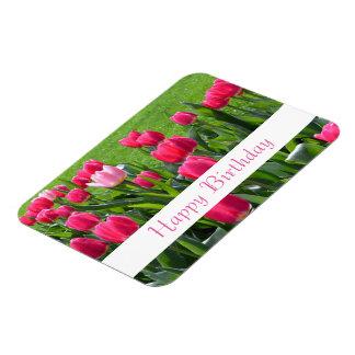 gorgeous spring pink tulip flowers happy birthday rectangular photo magnet