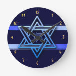 Gorgeous Star of David On blue Background jewish Round Wall Clock