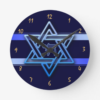 Gorgeous Star of David On blue Background jewish Round Clock