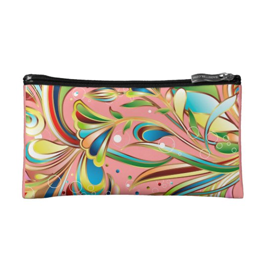 Gorgeous Swirling Flowers Cosmetic Bag