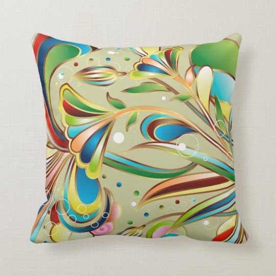 Gorgeous Swirling Flowers Throw Pillow
