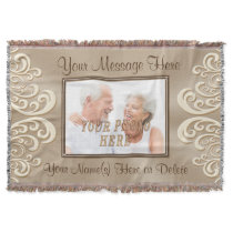 Gorgeous Taupe and Ecru Photo Personalized Blanket