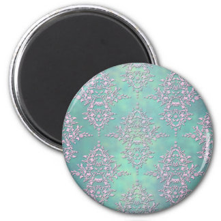 Gorgeous Teal and Lavender Pastel Damask 2 Inch Round Magnet